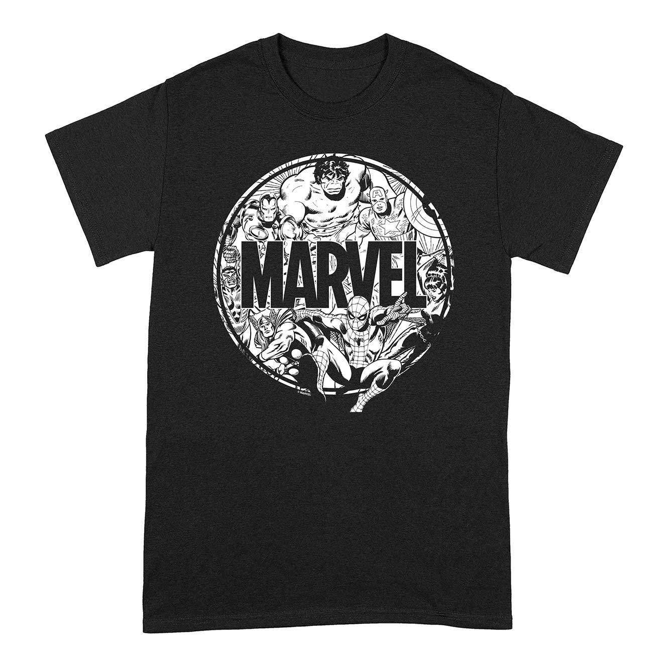 marvel-black-and-white-t-shirt